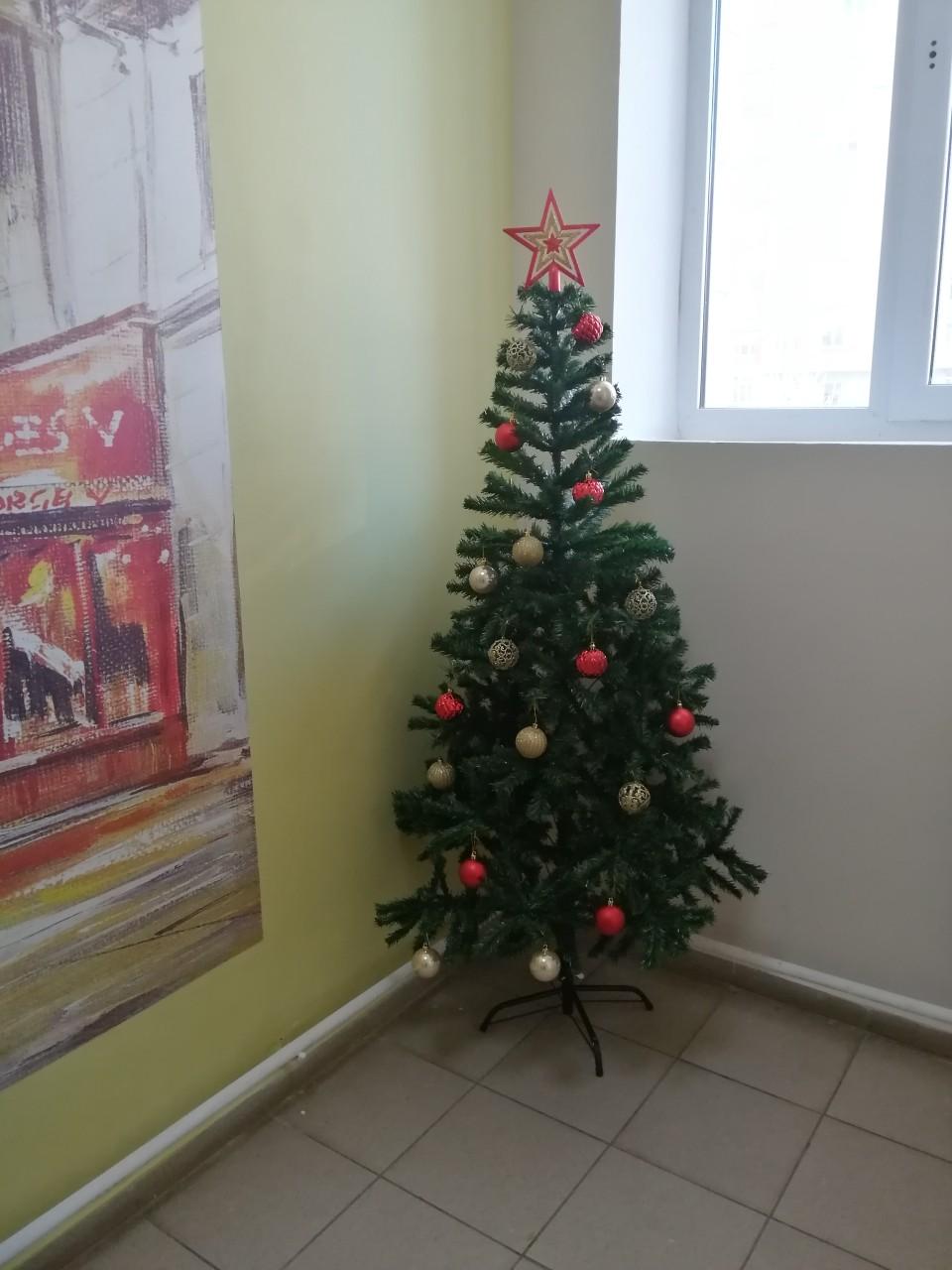 Новогоднее оформление фойе первых этажей МКД проезд Северный 16-1
