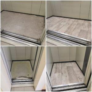Мира 3/1, 8 подъезд, замена напольного покрытия в грузовом и пассажирском лифтах, фото до и после